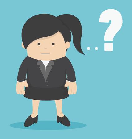 zakelijke vrouw: business Woman with Question mark Stock Illustratie