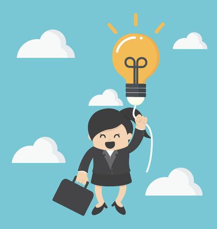 balloon woman: business woman with a success balloon idea