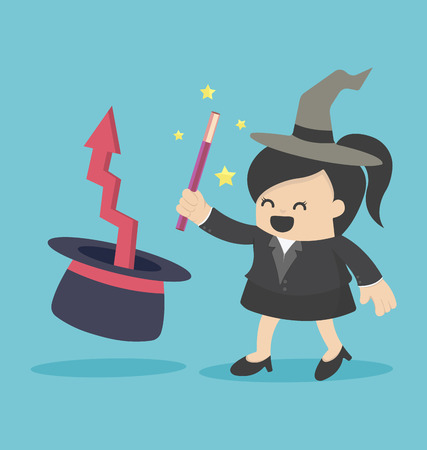 business woman: business woman magic Illustration