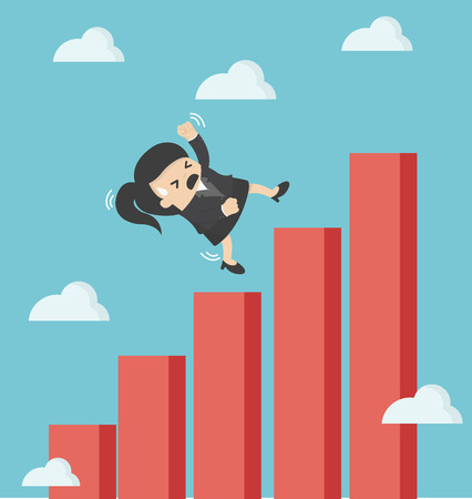 falling down: business woman falling down graphic chart Illustration