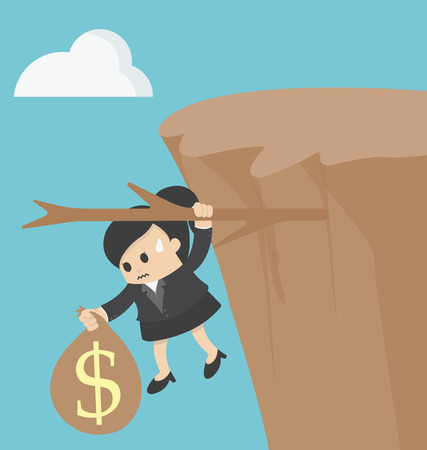 pitfall: business woman Fiscal cliff concept