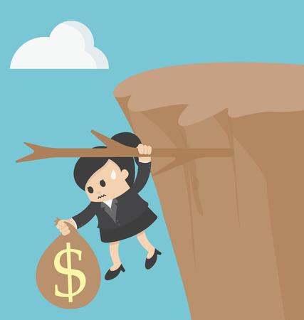 cliffs: business woman Fiscal cliff concept
