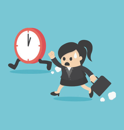 business time: The time management business woman running Illustration