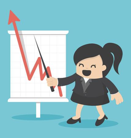zakelijke vrouw: business woman with business growing graph Stock Illustratie