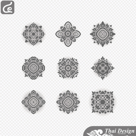 buddhist: set of  Line thai art design Illustration