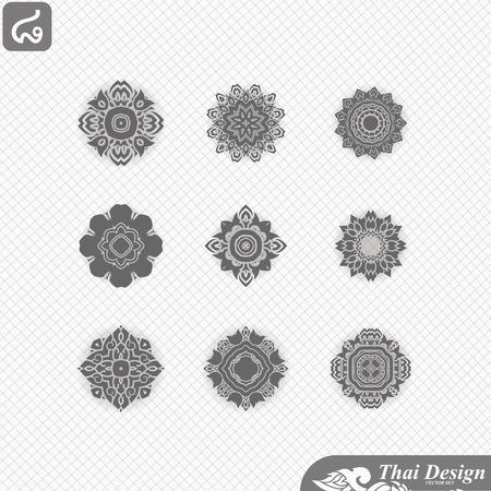 line art: set of  Line thai art design Illustration