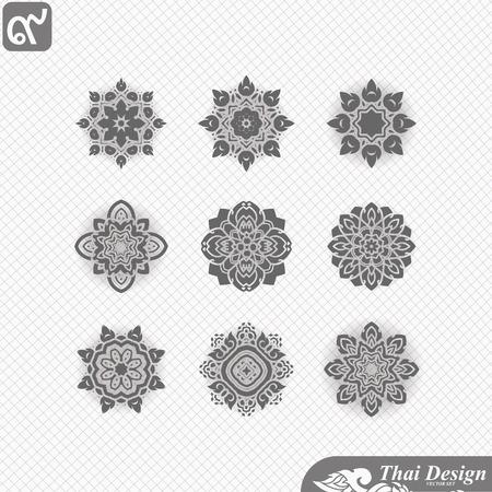 thai art: set of  Line thai art design Illustration