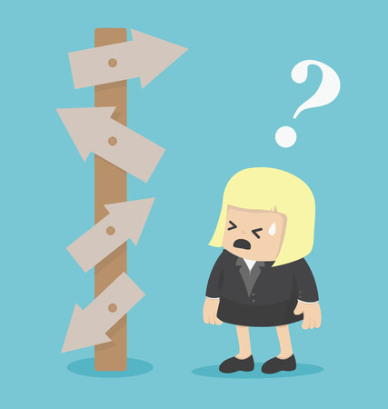 dudando: Mujer de negocios hombre de negocios confuso que mira las señales de tráfico que señala Vectores