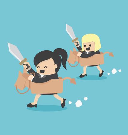 bigfoot: 2 Businesswoman riding the toy horse Illustration