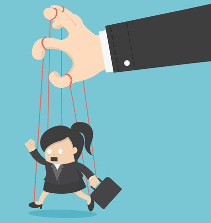 manipulated: Business Woman marionette Illustration