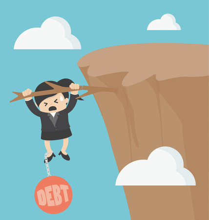 perspiration: Businesswoman with debt
