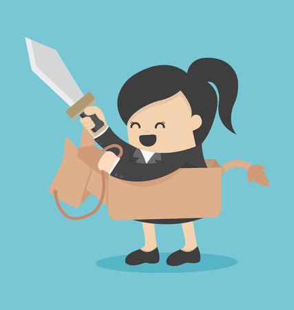 keep: Business woman riding the toy horse have sword
