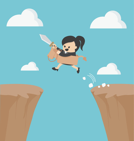 wooden cross: Business woman riding over obstacles. Illustration