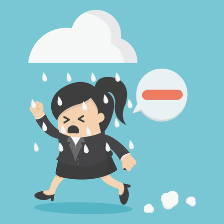 positive thought: Business woman people negative thinking Illustration