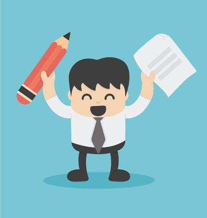 lapiz y papel: Empresario sosteniendo un lápiz, papel