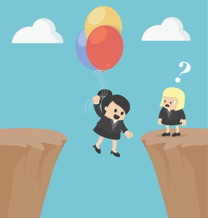 Illustration Business Woman concepts successful businessman after failure Illustration