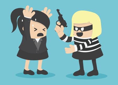robbing: robbing a businesswoman Illustration