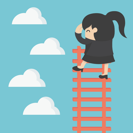 cartoon: business woman on ladder Looking for success Illustration