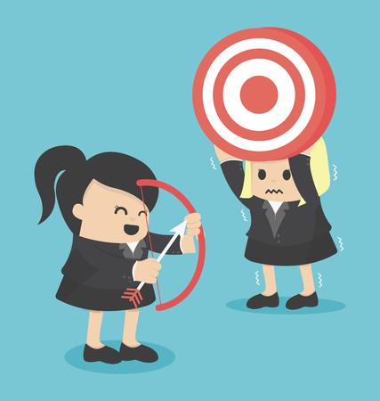 Geschäftsfrau schießen Ziel mit einem bow.eps.10 Illustration