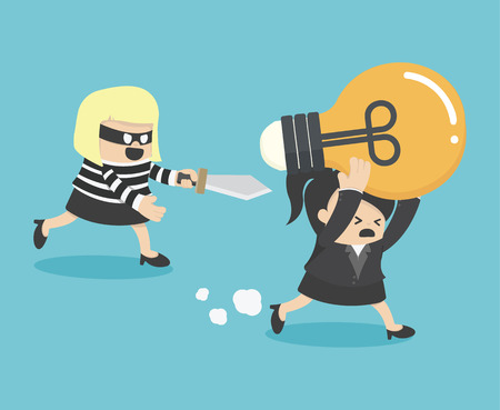 resourceful: Concepts Cartoons Thief stealing idea BusinessWom Illustration
