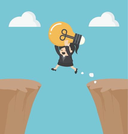 blue bulb: successful businessWoman with an idea. Illustration