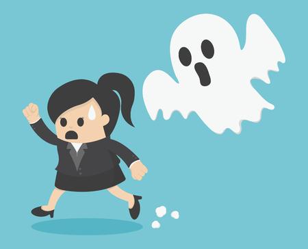 woman run: business woman Run ghost Illustration