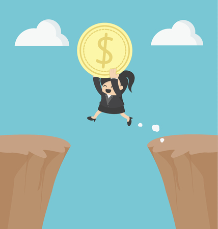 woman holding money: Business Woman holding money jumping over the cliff Illustration