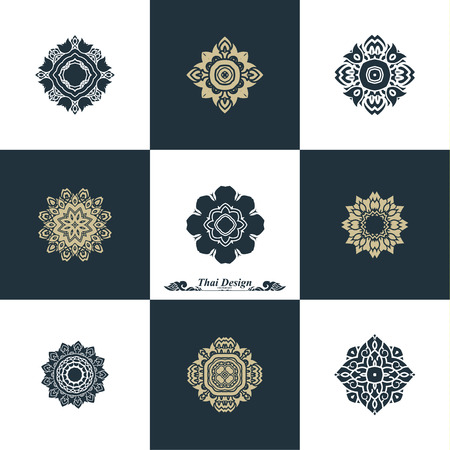 vector art: Design Luxury Template Set. Swash Elements Art Vector Vintage Style Thai