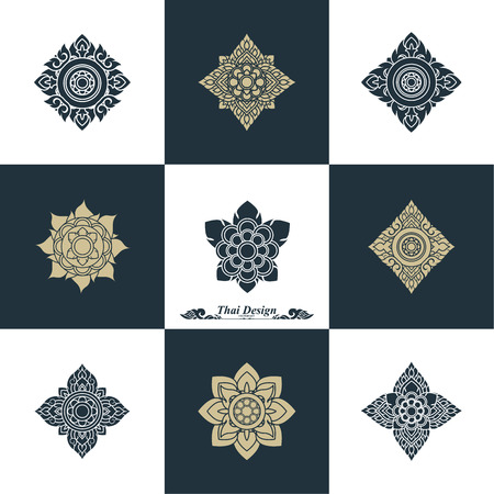 thai decor: Design Luxury Template Set. Swash Elements Art Vector Vintage Style Thai