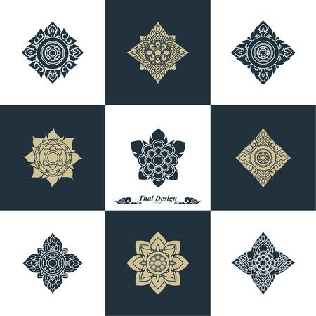thai art: Design Luxury Template Set. Swash Elements Art Vector Vintage Style Thai