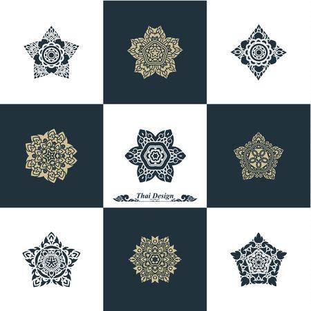 scroll: Design Luxury Template Set. Swash Elements Art Vector Vintage Style Thai