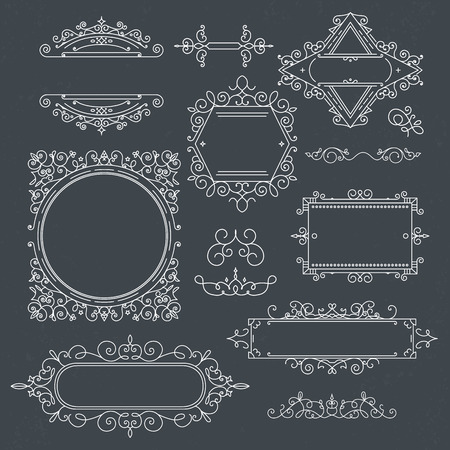 boutique hotel: Set of Vintage Frames for Luxury for cafe, shop, store, restaurant, boutique, hotel, heraldic, fashion and etc. Illustration