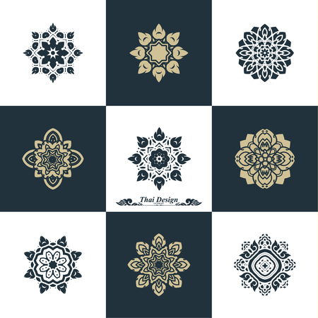 classical: Design Luxury Template Set. Swash Elements Art Vector Vintage Style Thai