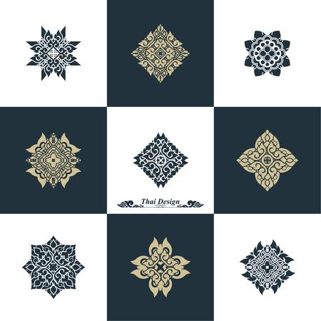 swash: Design Luxury Template Set. Swash Elements Art Vector Vintage Style Thai