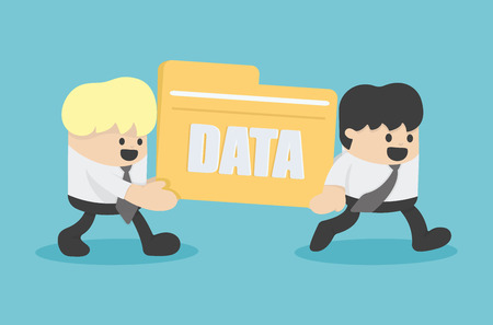 internet concept: business people transfer Files data