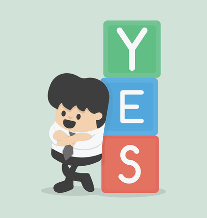 sign ok: Vector illustration of a businessman with YES