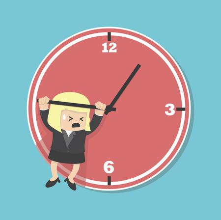hangs: business woman hangs on an arrow of clock Illustration