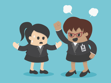 bad leadership: Concept angry boss is shouting to his employee