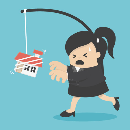 want: business woman want a house Illustration