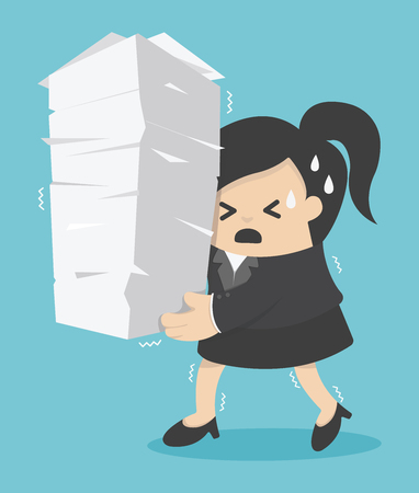 document: business woman holding a lot of documents Illustration