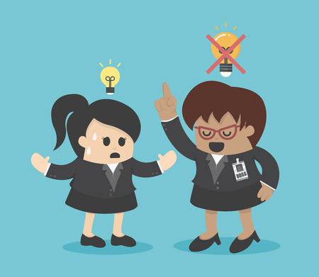 good and bad: Boss dislike the ideas