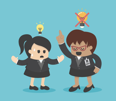 buen trato: Jefe disgustan las ideas Vectores