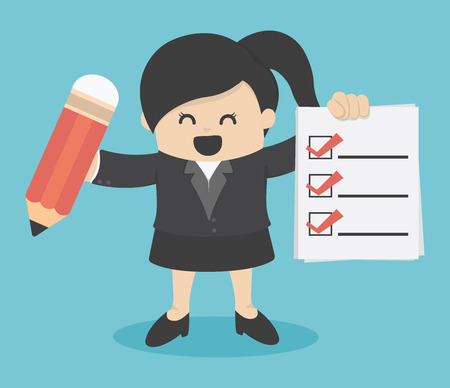 ok hand: business woman Checklist Illustration