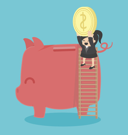 business woman: Concept Business woman saving money