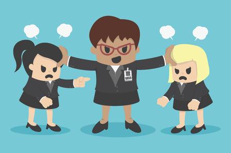 conflictos mujer de negocios o discutiendo compañero de trabajo en la oficina