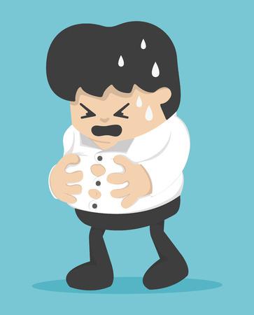 Homme d'affaires Jeune tient son ventre lourd, ventre lourd, manger trop, trop mangé