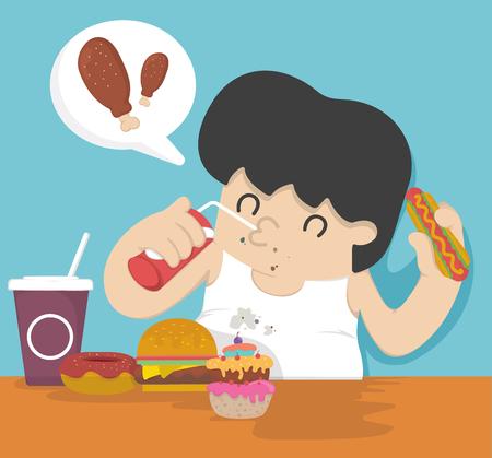 eating food: Fat man eating