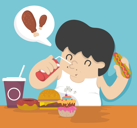 happy man: Fat man eating