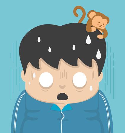 caras de emociones: Choque y un mono en la cabeza.