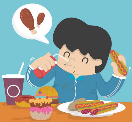 Völlerei, Essen zu viel Fett Illustration